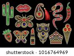 beautiful patches with sequins  ... | Shutterstock .eps vector #1016764969