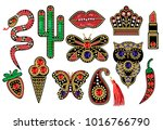 beautiful patches with sequins  ... | Shutterstock .eps vector #1016766790
