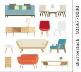 set of furniture interior and... | Shutterstock .eps vector #1016770030