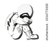 the astronaut sits and cries.... | Shutterstock .eps vector #1016773330