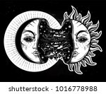 moon crescent turning into... | Shutterstock .eps vector #1016778988
