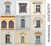 windows of an old building.... | Shutterstock . vector #1016781574