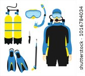 snorkeling and scuba diving set ... | Shutterstock .eps vector #1016784034
