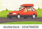 family journey by car to nature.... | Shutterstock .eps vector #1016786020