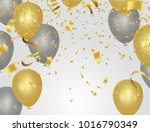 golden party balloons isolated... | Shutterstock .eps vector #1016790349
