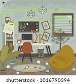dirty workplace flat style... | Shutterstock .eps vector #1016790394
