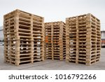 Stacks Of Wooden Pallets For...