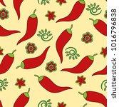 seamless pattern. chile pepper. ... | Shutterstock .eps vector #1016796838