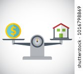 house and money on weighing... | Shutterstock .eps vector #1016798869
