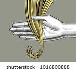 female hand holding blonde... | Shutterstock . vector #1016800888
