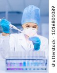 young female scientist working... | Shutterstock . vector #1016801089