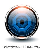 glossy button blue with camera... | Shutterstock .eps vector #1016807989
