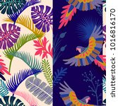 decorative tropical pattern... | Shutterstock .eps vector #1016816170