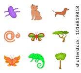 bio world icons set. cartoon... | Shutterstock .eps vector #1016819818