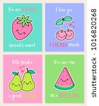 set of cute fruits illustration ... | Shutterstock .eps vector #1016820268