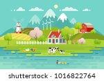 spring village landscape  eco... | Shutterstock .eps vector #1016822764