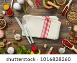 raw ingredients on wooden table | Shutterstock . vector #1016828260