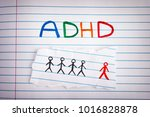 Small photo of ADHD. Abbreviation ADHD on notebook sheet. Close up. ADHD is Attention deficit hyperactivity disorder.