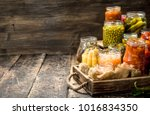 different preserved vegetables... | Shutterstock . vector #1016834350