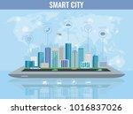 smart city on a digital touch... | Shutterstock .eps vector #1016837026