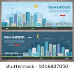day and night urban landscape.... | Shutterstock .eps vector #1016837050