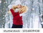 winter young teen girl portrait.... | Shutterstock . vector #1016839438
