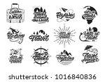 travel set logos in lettering... | Shutterstock .eps vector #1016840836