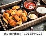 chicken nuggets with different... | Shutterstock . vector #1016844226