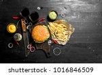 street food. fresh burger with... | Shutterstock . vector #1016846509