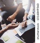closeup view of teamwork...   Shutterstock . vector #1016849560