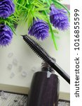 brush of black mascara with... | Shutterstock . vector #1016855599