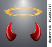 set of a horns and a halo on... | Shutterstock .eps vector #1016862814