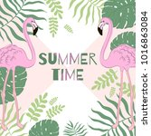 tropical leaves and flamingo... | Shutterstock .eps vector #1016863084