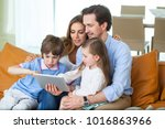 portrait of happy family with... | Shutterstock . vector #1016863966