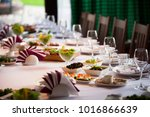 glasses  flowers  fork  knife... | Shutterstock . vector #1016866639