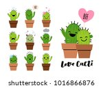 set of emoji icons with cute... | Shutterstock .eps vector #1016866876