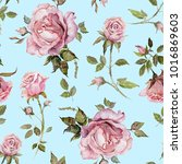 Stock photo rose flower on a twig seamless floral pattern watercolor painting hand drawn illustration 1016869603