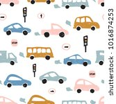 childish seamless pattern with... | Shutterstock .eps vector #1016874253