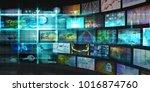 tech digital data transfer... | Shutterstock . vector #1016874760