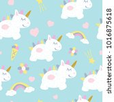 childish seamless pattern with... | Shutterstock .eps vector #1016875618