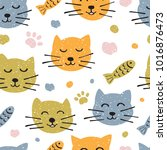childish seamless pattern with... | Shutterstock .eps vector #1016876473