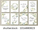 set of card with flower rose ... | Shutterstock .eps vector #1016880823