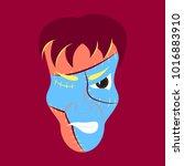 flat cartoon evil frankenstein... | Shutterstock .eps vector #1016883910
