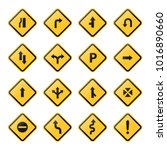yellow road signs  symbols ... | Shutterstock .eps vector #1016890660