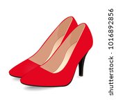 pair of red shoes on high heels ...   Shutterstock .eps vector #1016892856