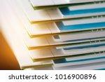 stack of report paper documents ...   Shutterstock . vector #1016900896
