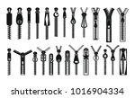 Zipper Puller Lock Icons Set....