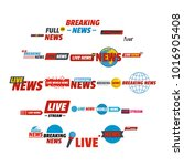 news live breaking label icons... | Shutterstock .eps vector #1016905408