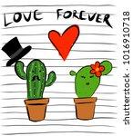 love forever  cactus lovers | Shutterstock .eps vector #1016910718