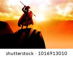 spartan hoplite standing on the ... | Shutterstock . vector #1016913010